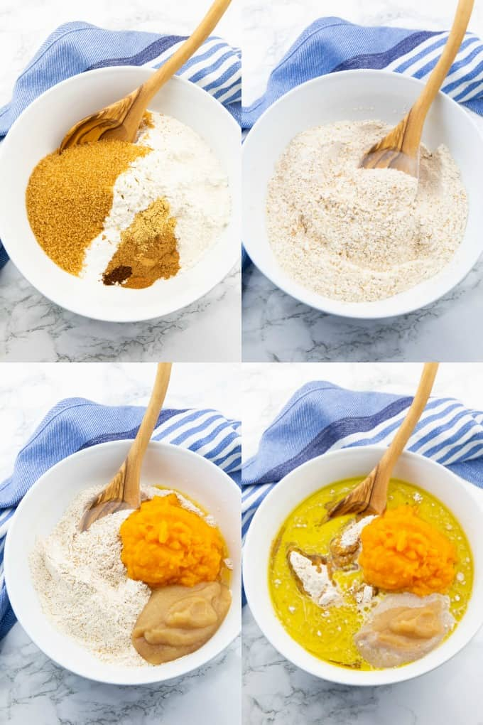 a collage of four photos that show the preparation of vegan pumpkin muffins