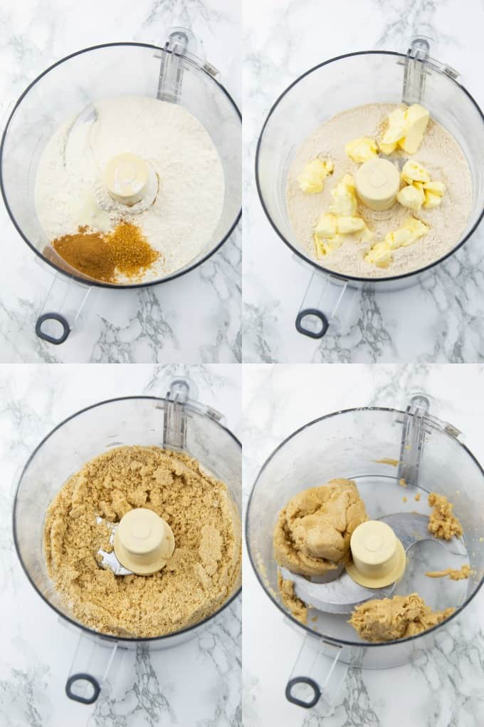 a collage of four vegan photos that show the preparation of vegan pumpkin pie crust