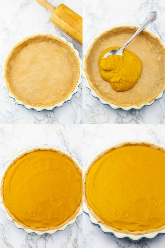 a collage of four photos that show the preparation of vegan pumpkin pie