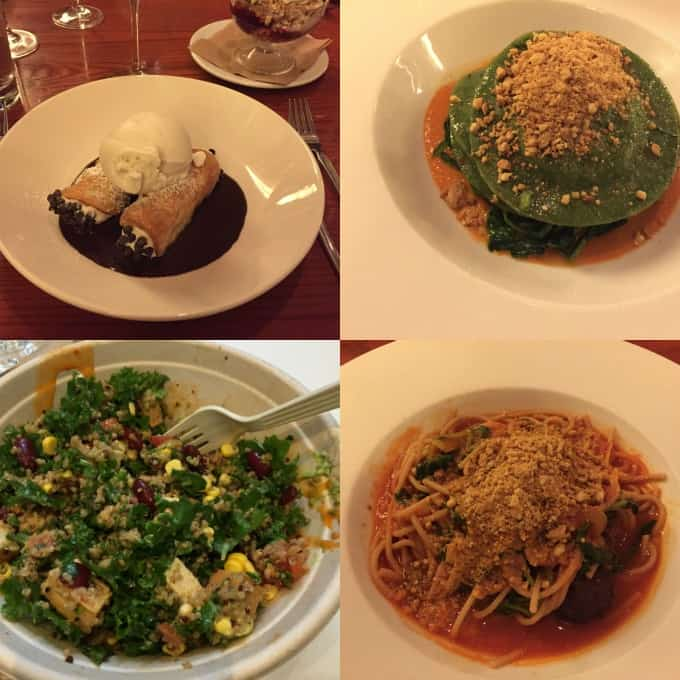 a collage of four photos of food at vegan restaurants in New York
