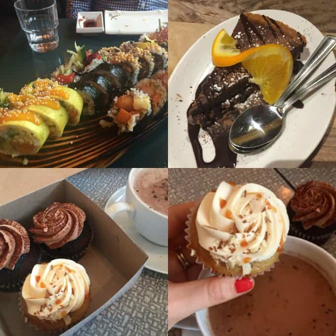 a collage of four photos of food at vegan restaurants in Montreal