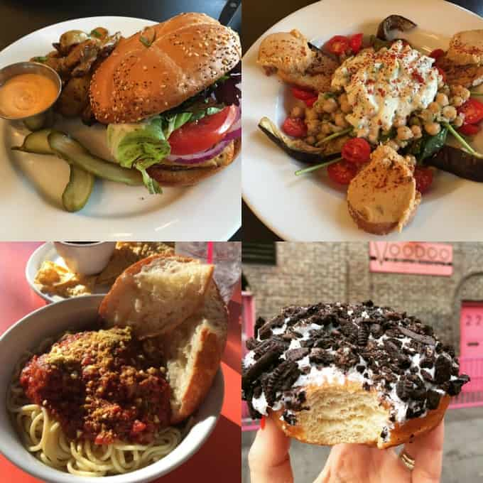 a collage of four photos of food at vegan restaurants in Portland