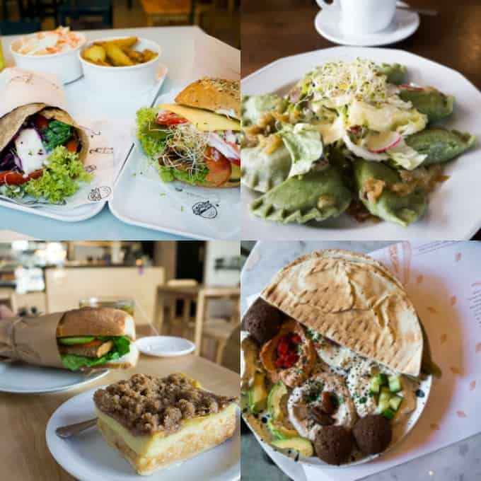 a collage of four photos of food at vegan restaurants in Warsaw
