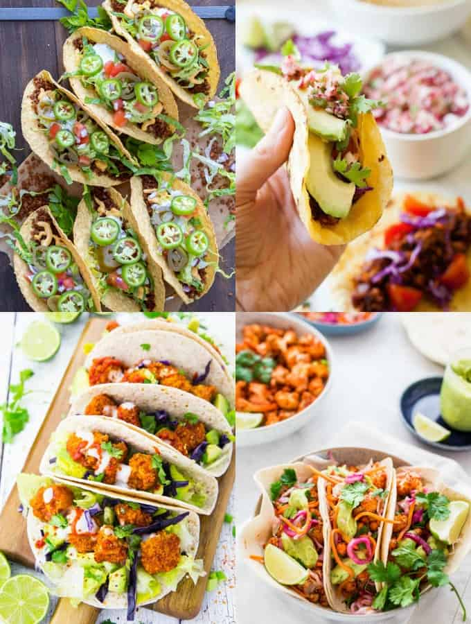 a collage of four recipes for vegan tacos