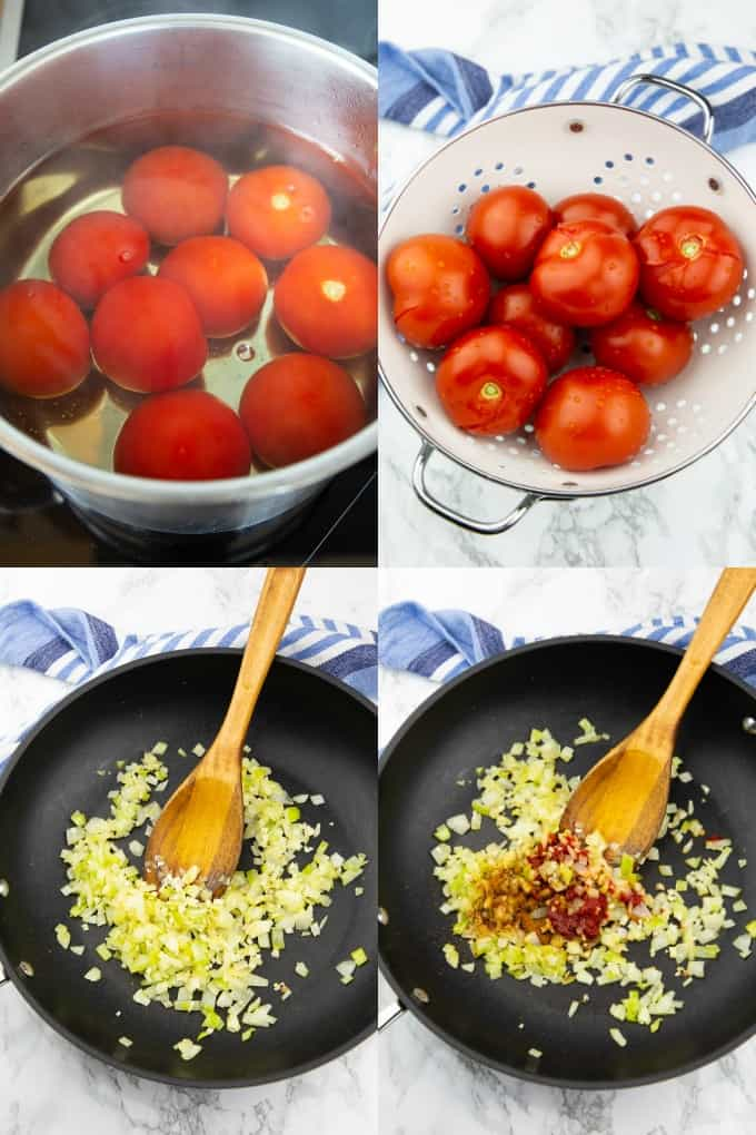 a collage of four photos that show you how to make homemade marinara with fresh tomatoes