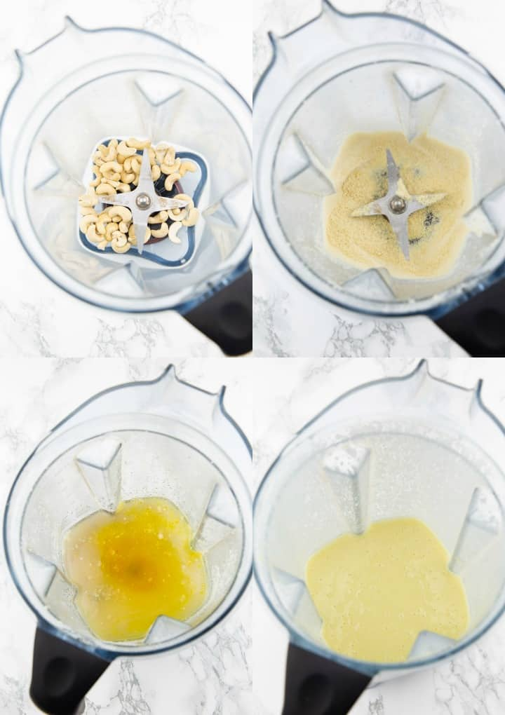 a collage of four photos that shows how to make vegan butter