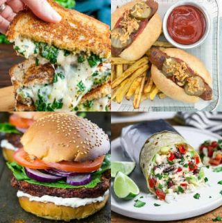 a collage of four vegan fast food recipes