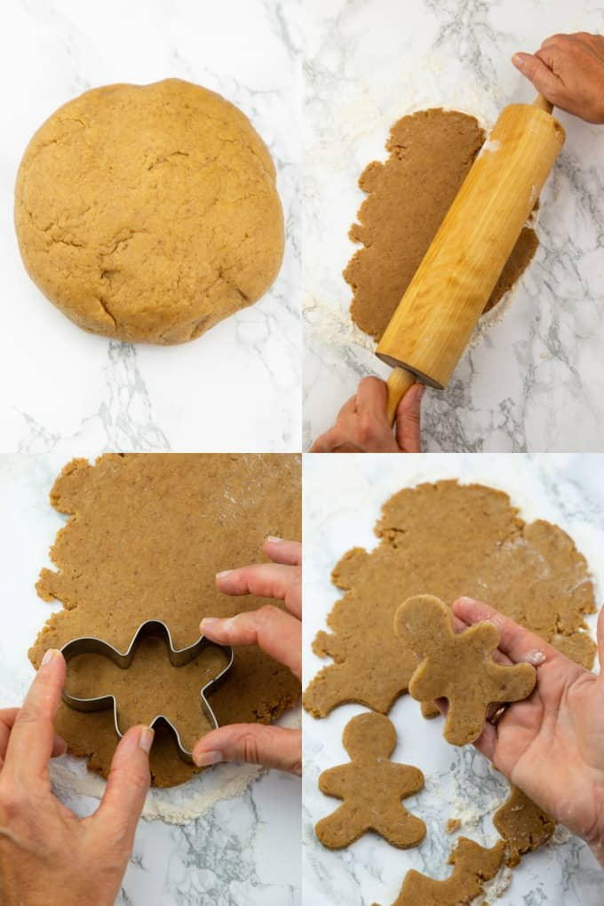 a collage of four photos that show the preparation of vegan gingerbread cookies