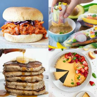 a collage of four vegan recipes