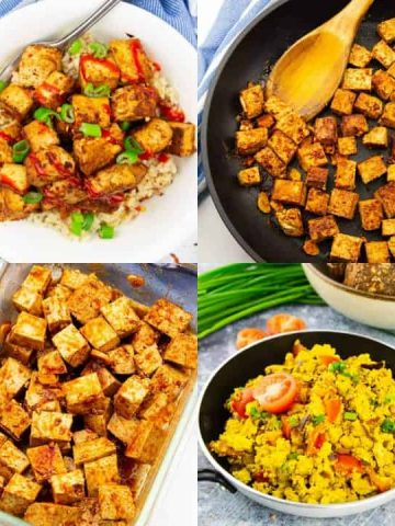a collage of four photos that show how to cook tofu