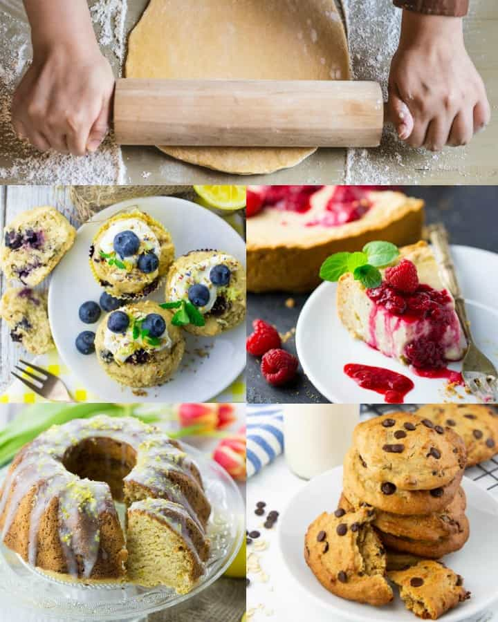 a collage of five vegan baking recipes
