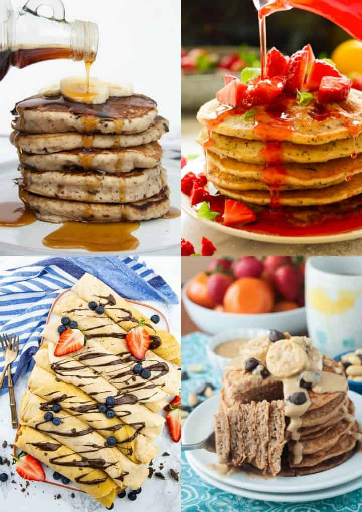 a collage of four different vegan pancakes
