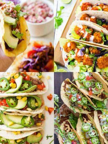 a collage of four photos of vegan tacos