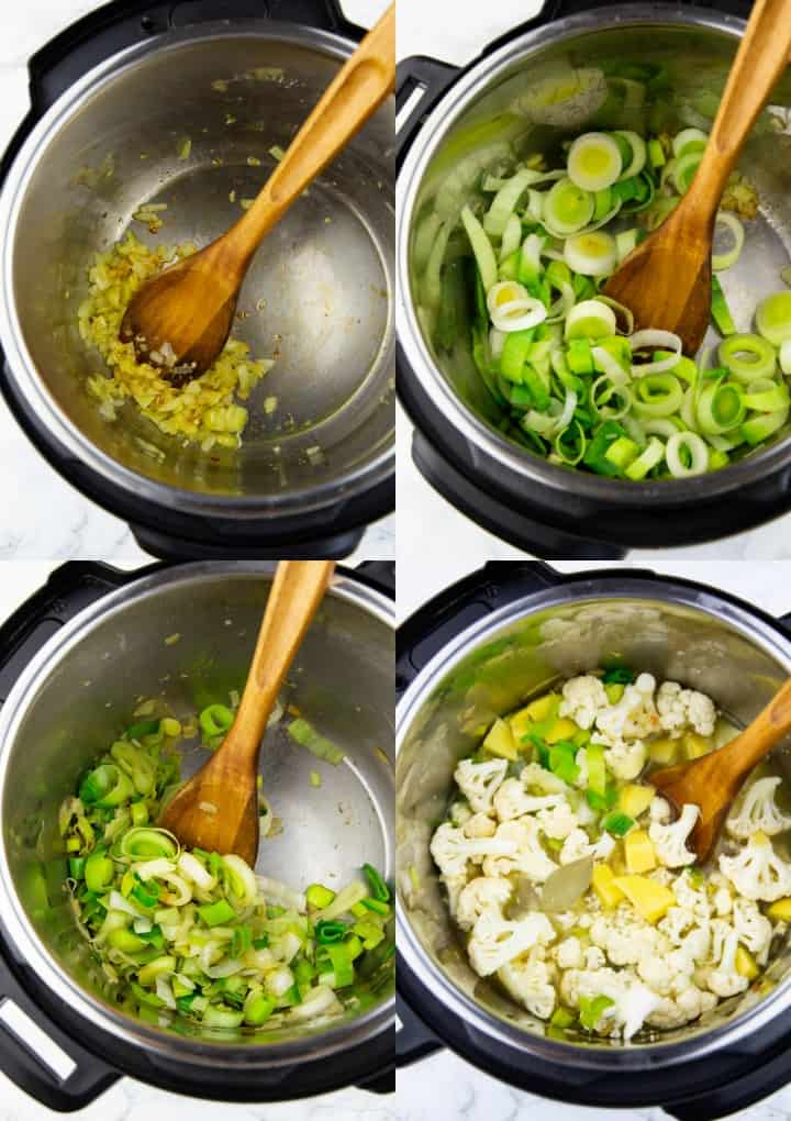 a collage of four photos that show the preparation of instant pot cauliflower soup