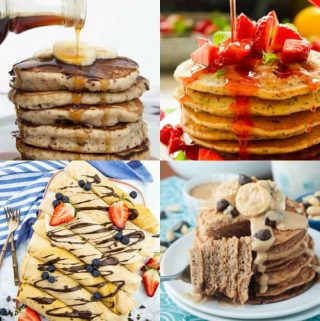a collage of four vegan pancakes