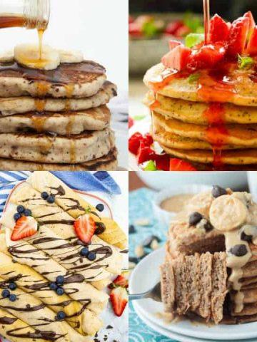 a collage of four vegan pancakes