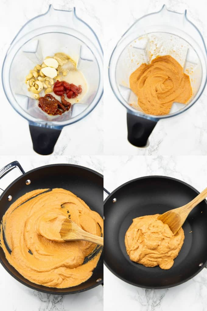 a collage of four photos that show the preparation of vegan pasta sauce with sun-dried tomatoes