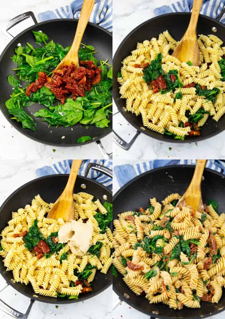 a collage of four photos that show the preparation of hummus pasta