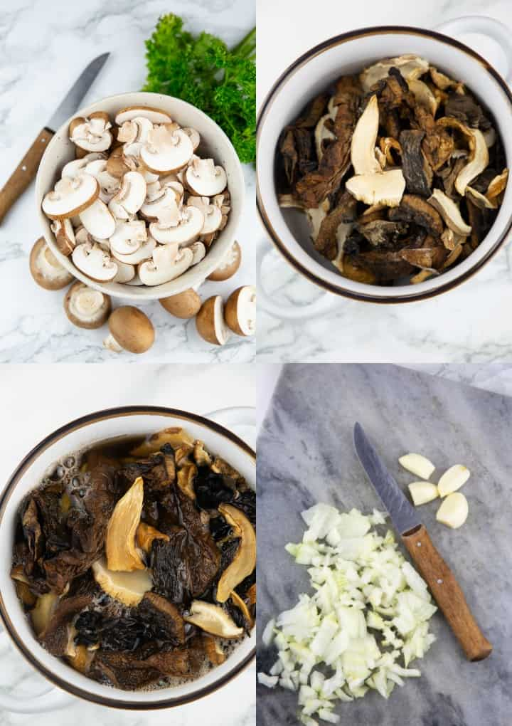 A collage that shows the preparation of vegan risotto with mushrooms
