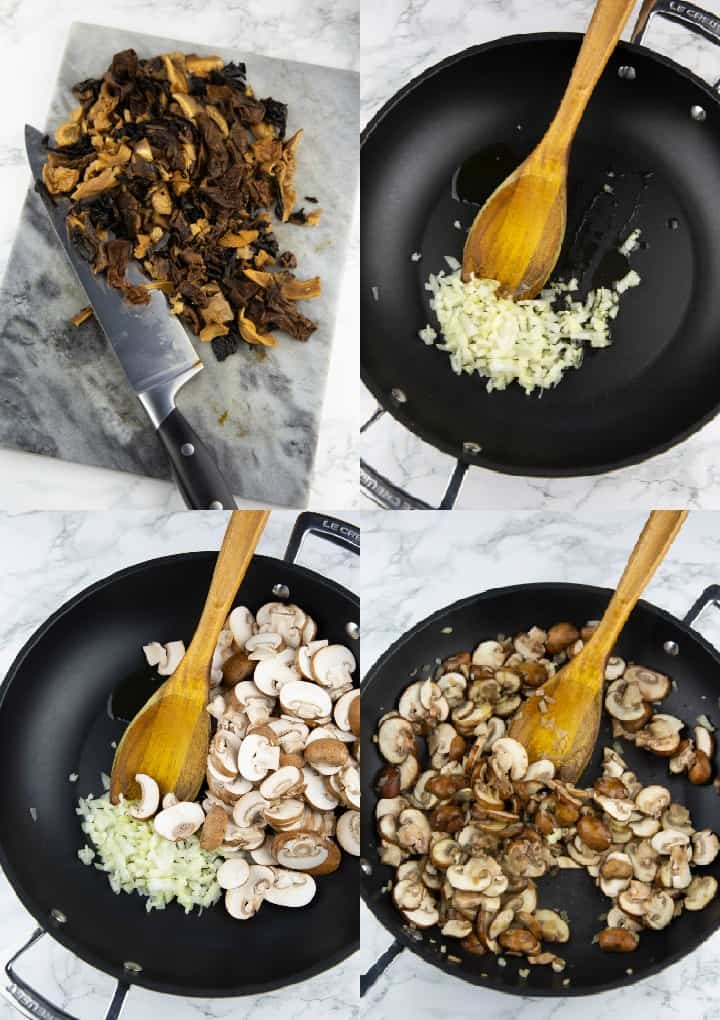 A collage of four photos that show the preparation of mushroom risotto