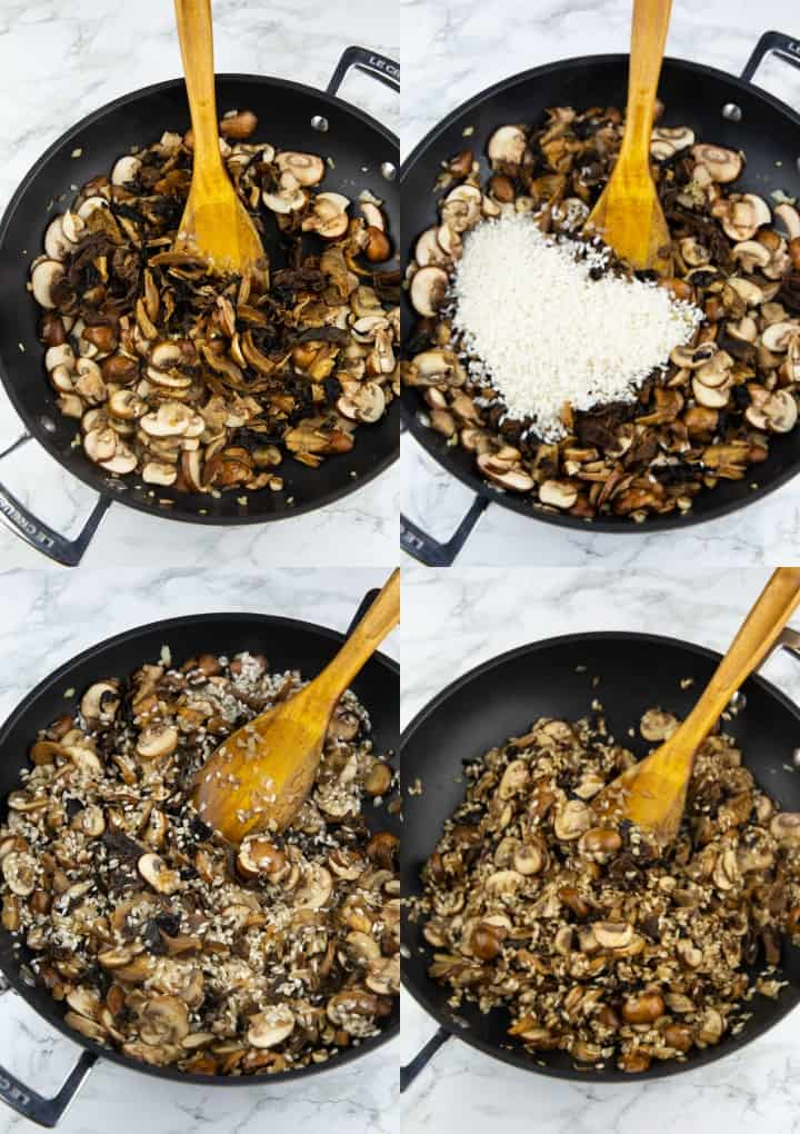 A collage of four photos that show the preparation of a mushroom risotto