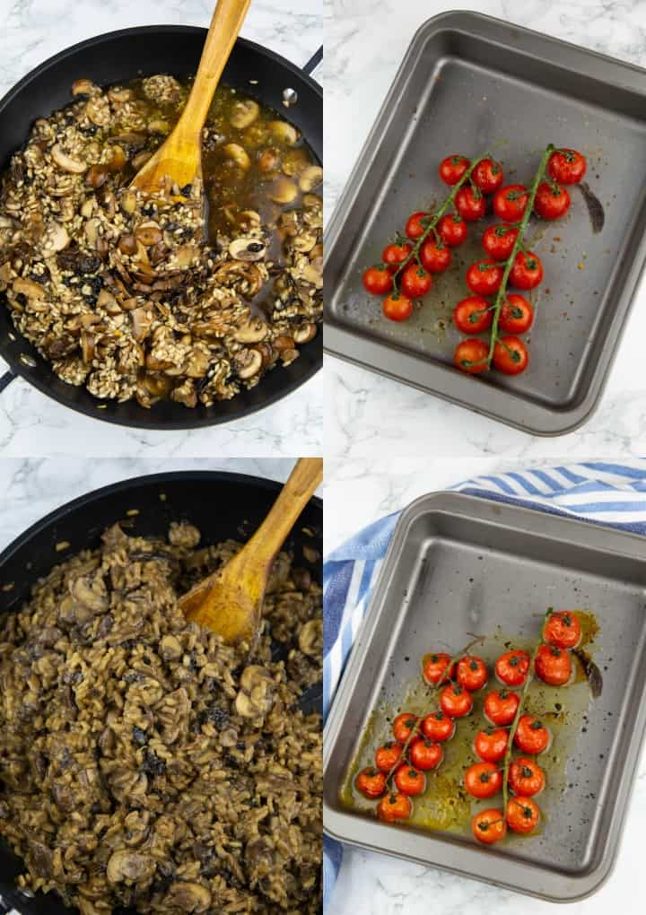 A collage of four photos that show the preparation of a risotto