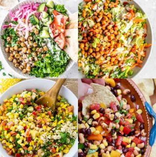 a collage of four vegan salad recipes