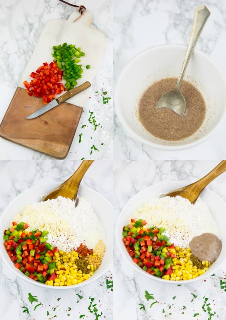 a collage of four photos that show the preparation of corn fritters