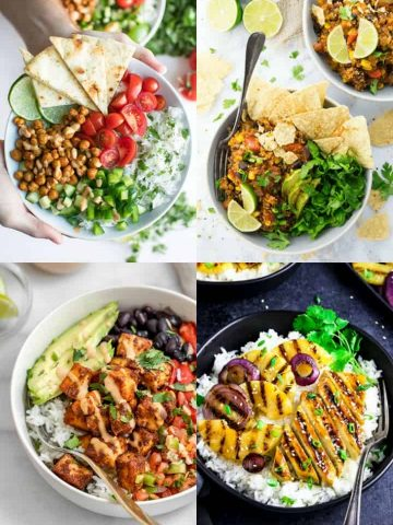 a collage of four vegan bowls recipes