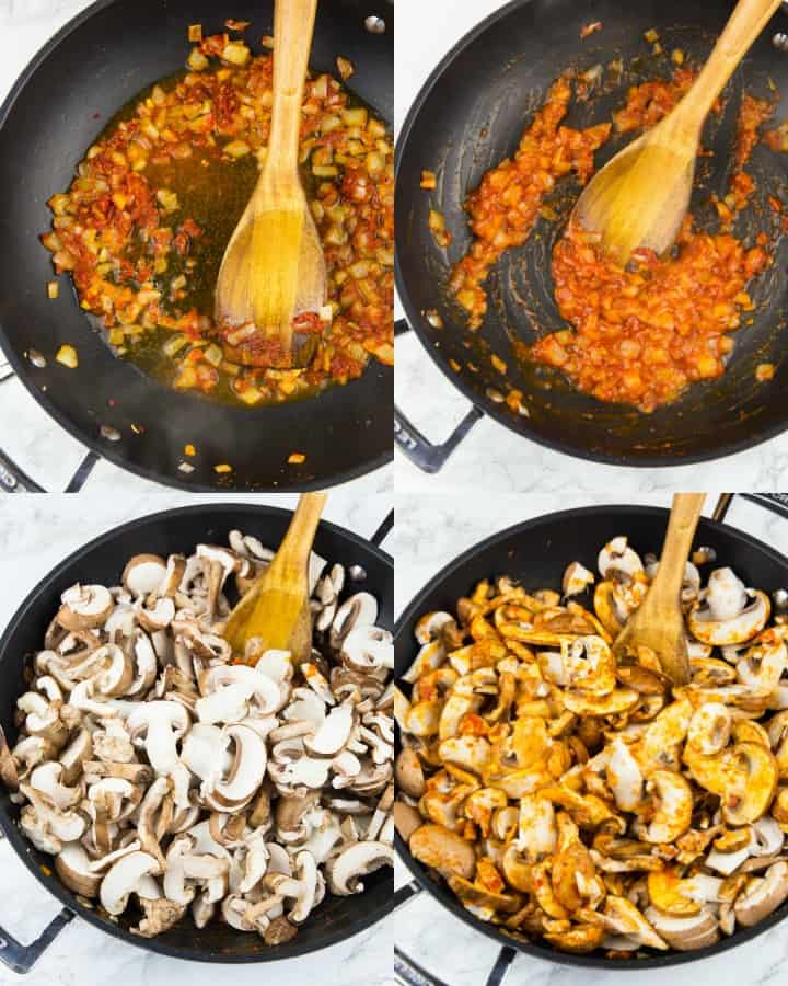 a collage of four photos that show the preparation of mushroom stroganoff