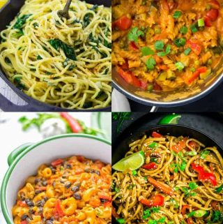 a collage of four vegan one pot pasta recipes