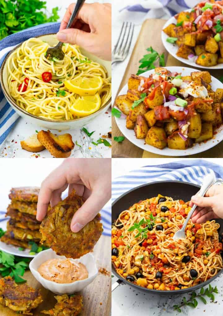 a collage of four vegan recipes with canned food and staples