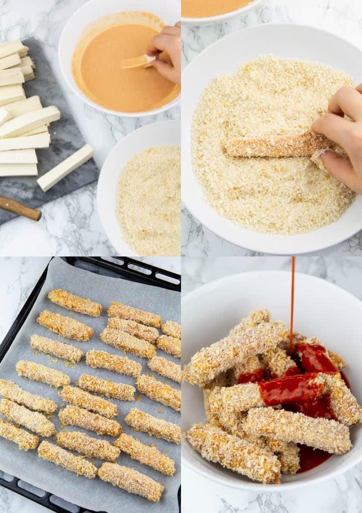 a collage that shows the preparation of baked tofu sticks