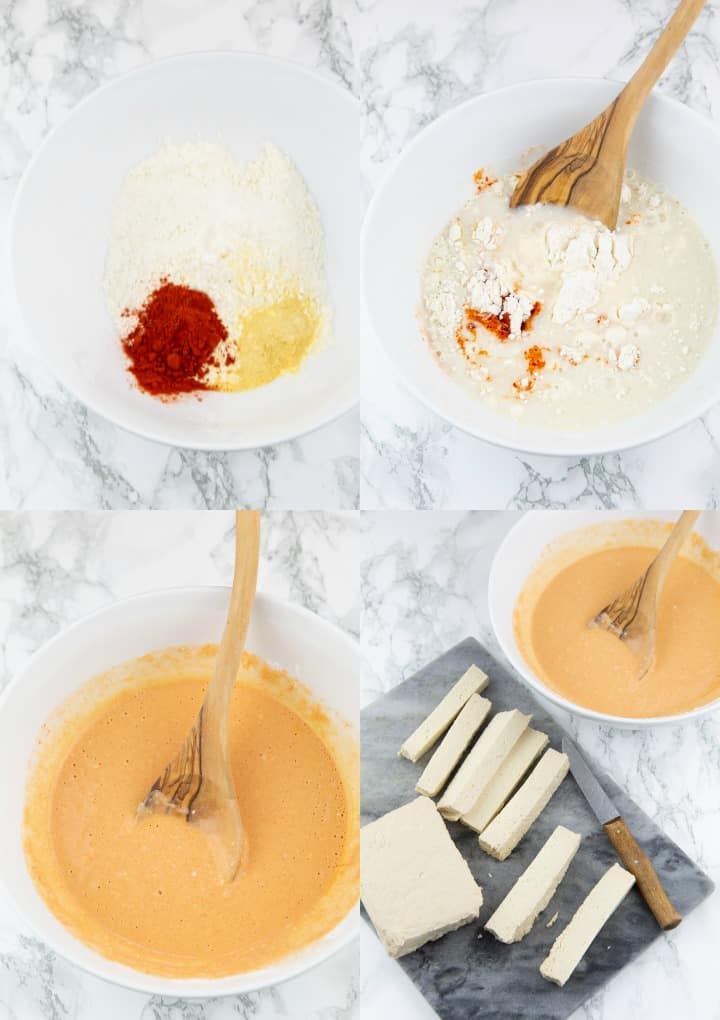 a collage of four photos showing the preparation of tofu sticks