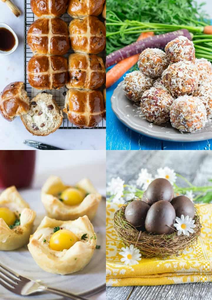 a collage of four vegan Easter recipes