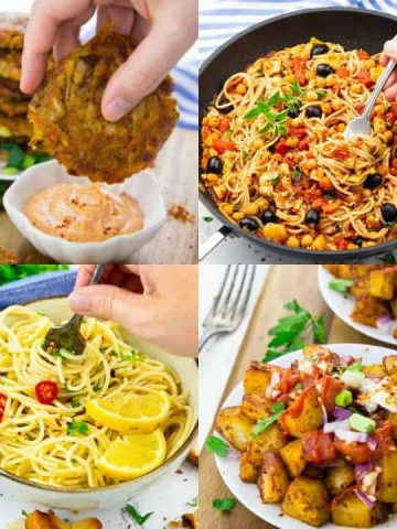 a collage of four photos of vegan recipes with canned foods