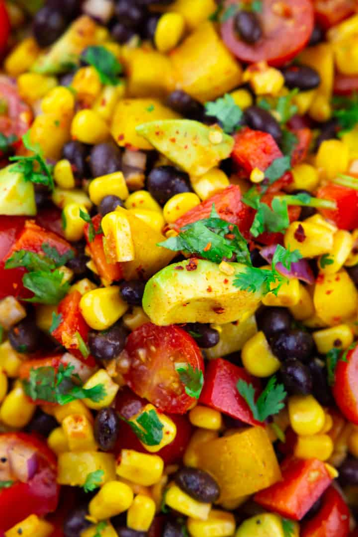 close-up photo of Mexican salad with black beans and corn