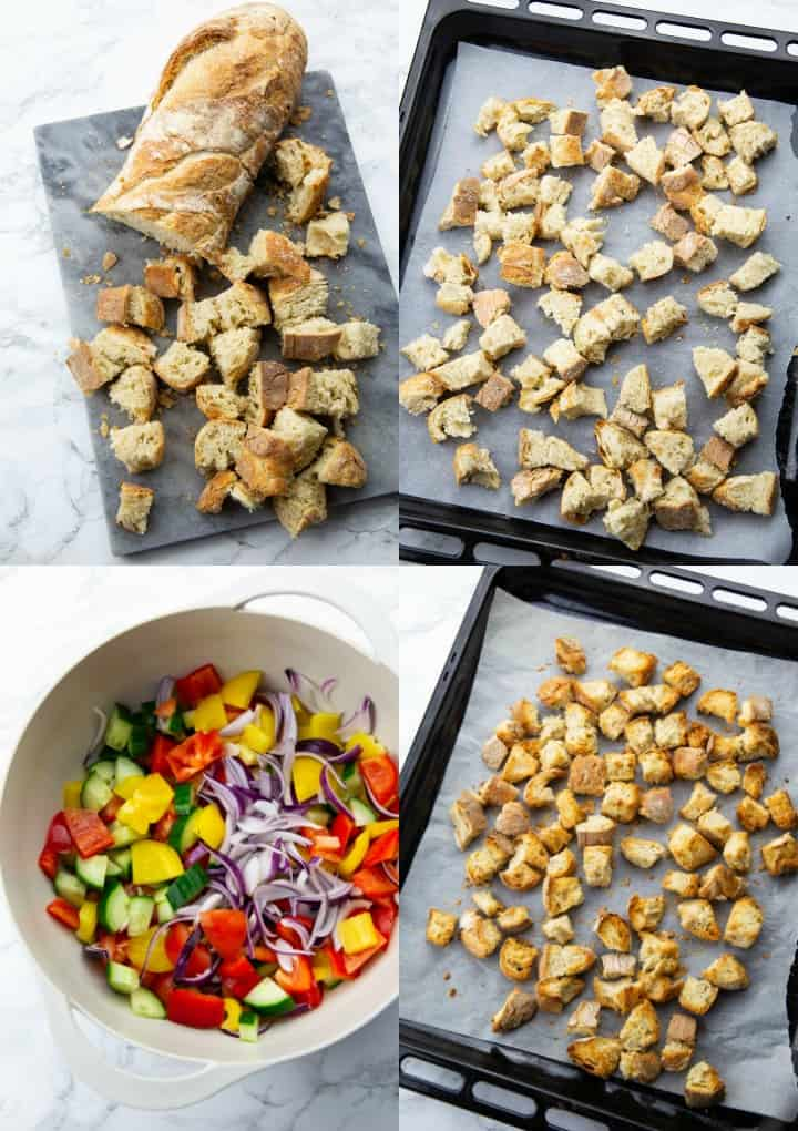 a collage consisting of four photos that show how to make panzanella salad