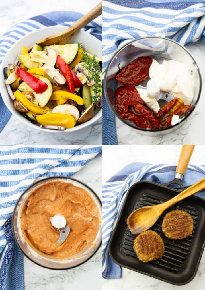 a collage of four step-by-step photos that shows the preparation of vegan burgers with grilled vegetables and sun-dried tomato mayonnaise