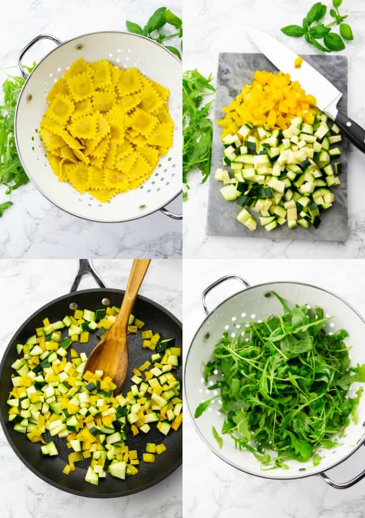 a collage of four photos that show the preparation of a vegan ravioli salad with arugula, zucchini, and bell pepper