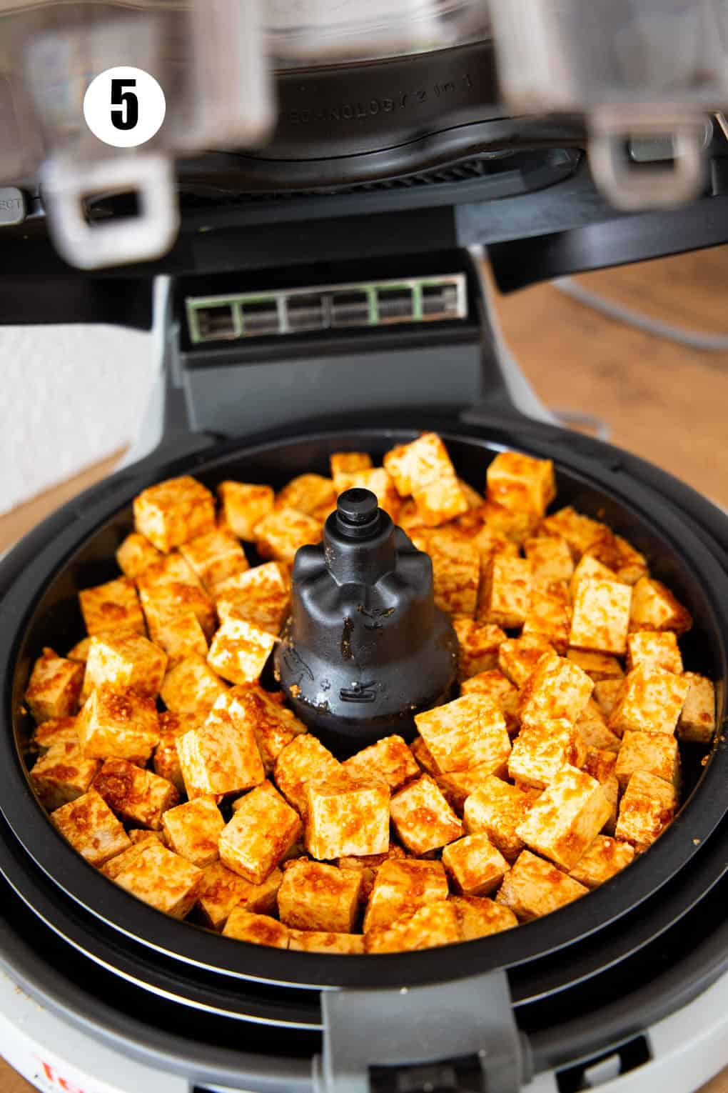 marinated tofu cubes in an air fryer