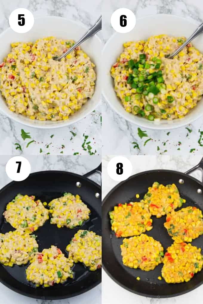 a collage of four recipes showing how to make corn fritters
