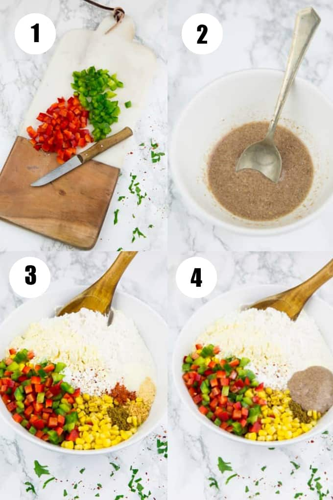 a collage of four photos that show how to make corn fritters