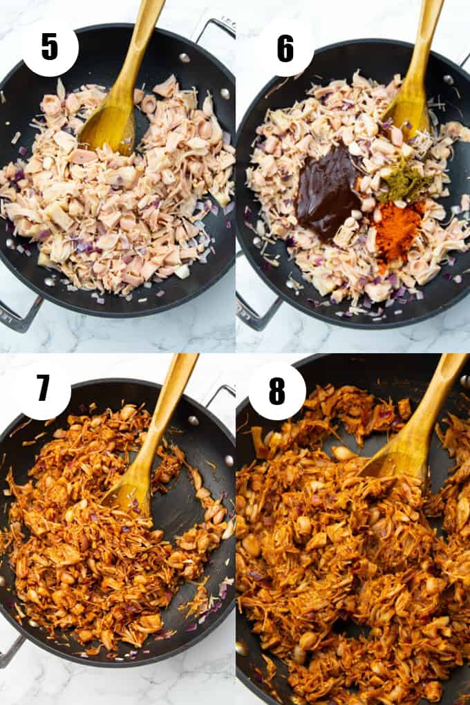 a collage of four photos that show how to make jackfruit tacos