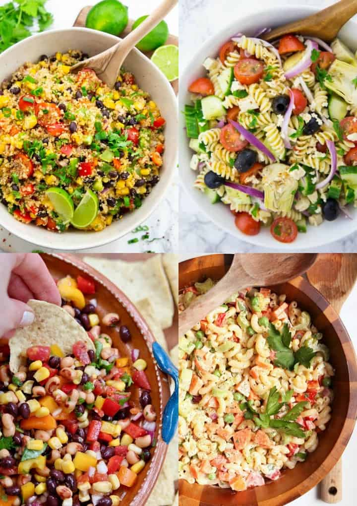 a collage of four summer salads