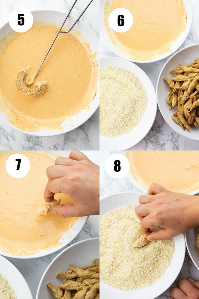 a collage of four step-by-step photos that show how to make vegan chicken