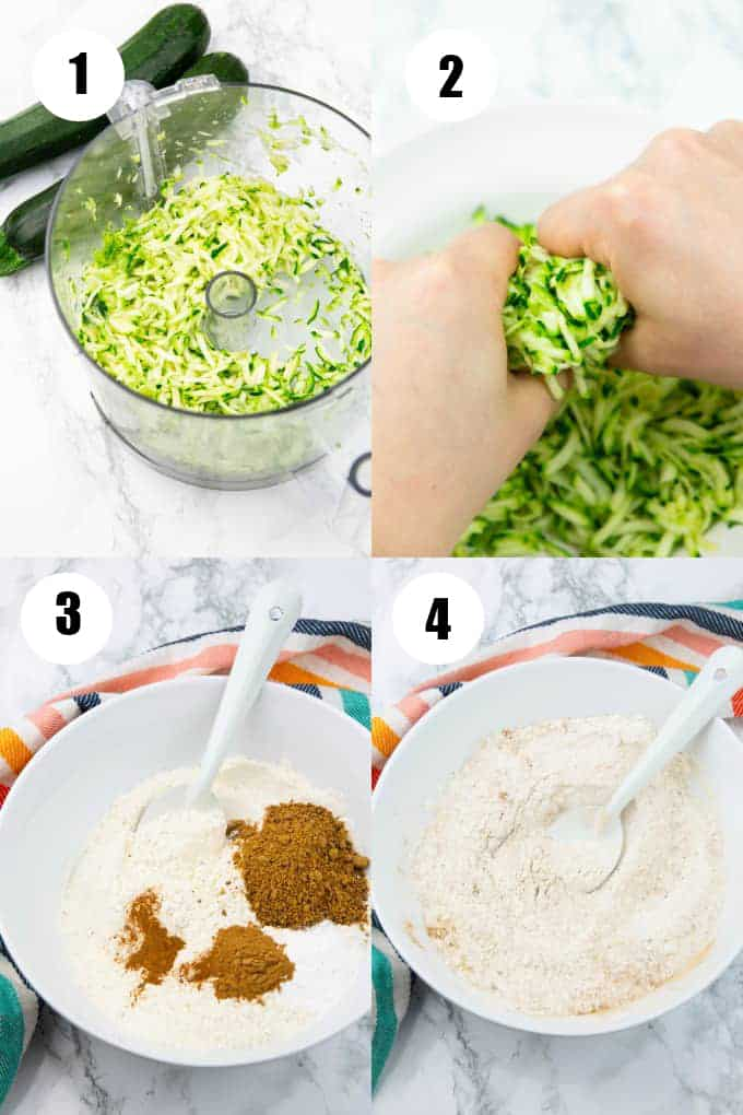 a collage of four step-by-step photos that show how to make vegan zucchini bread