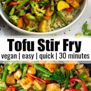 a collage of two photos of tofu stir fry with a text overlay