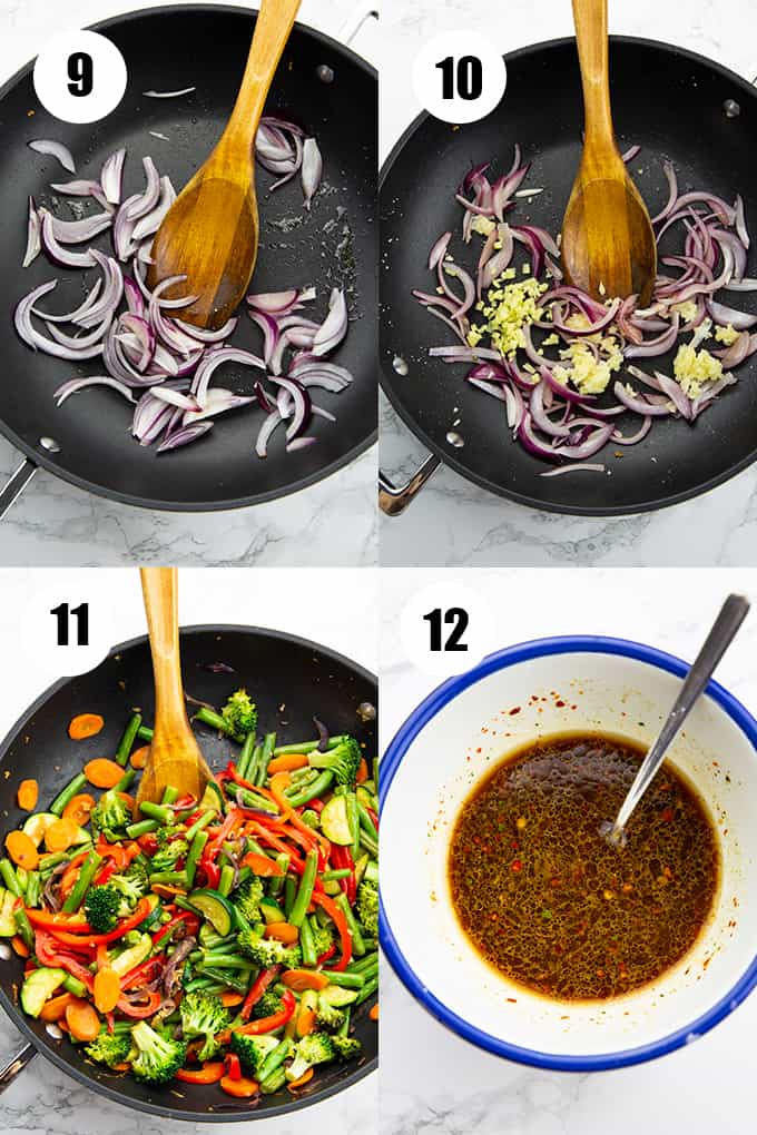 a collage that shows how to make tofu stir fry