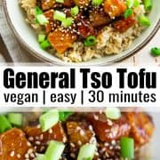 a collage of two photos of general tso tofu with a text overlay